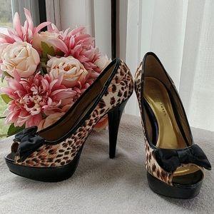 Leopard Print Peep Toe Platform Heels with Bow